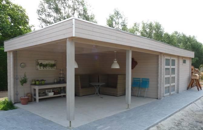 Blokhut met overkapping tuinhuis buitenverblijf blokhut for Bouwtekening veranda eigen huis en tuin