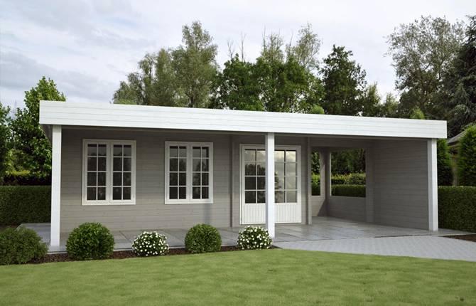 Blokhut met overkapping tuinhuis buitenverblijf blokhut for Moderne tuin met overkapping