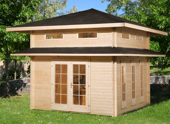 Tuinhuis tuinhuis met sauna : ... : Blokhut Piramidedak : Blokhutten met Piramidedak : Blokhut Vitoria